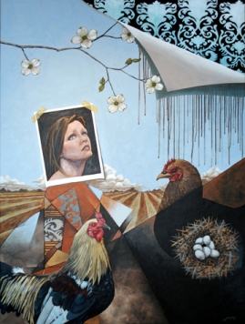 """...and she has found her purpose in the domestic."". 2012. acrylic on canvas. 36"" x 48"""