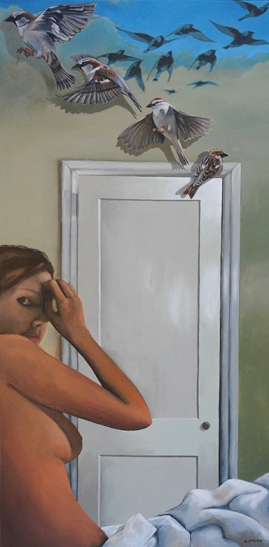 """...and she hath found her a home."". 2012. acrylic on canvas. 24"" x 48"""