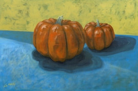 "SOLD - Behind Every Great Pumpkin . 2004. acrylic on canvas. 24"" x 36"""