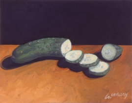 "SOLD - Cucumber #1. 2004. acrylic on canvas. 8"" x 10"""