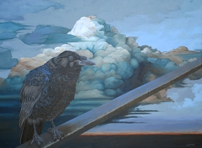 """...and he sent forth the raven."". 2012. acrylic on canvas. 36"" x 48"""