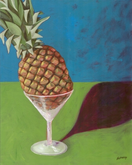 "SOLD - Pineapple Martini . 2004. acrylic on canvas. 16"" x 20"""