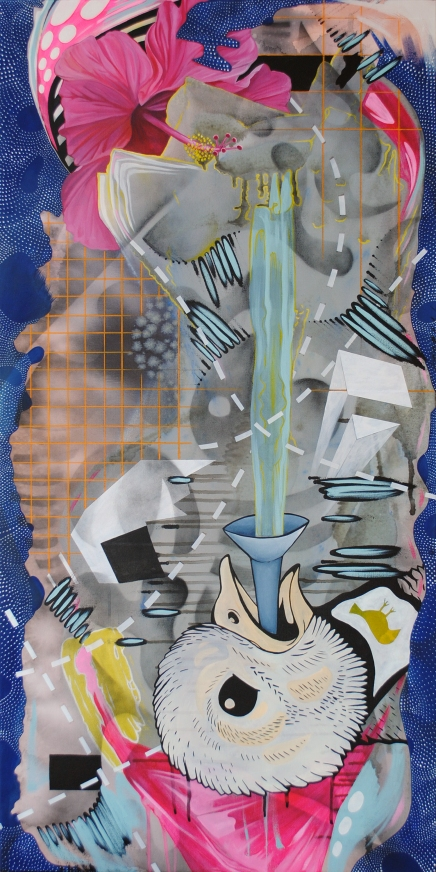"A QUIXOTIC TRANSGRESSION. 2015. acrylic, charcoal, ink, watercolor, house paint and spray paint on canvas. 24"" x 48""."